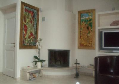 vellotti idées perroy transformation rénovation séjour cheminée avant carrelage plâtrerie peinture intérieur Marmorino